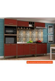 Cozinha Compacta Vitória 9 Pt 3 Gv Vermelha E Avelã