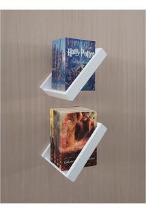 Prateleira Porta Livros Suporte Estante Nicho Decorativo 2 Peças Parede - Branco Laca