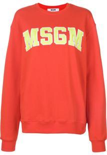 Msgm Blusa De Moletom Com Logo - Vermelho