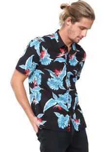 Camisa Aramis Slim Floral Azul-Marinho