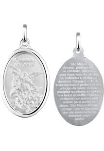 Pingente Medalha De São Miguel Em Prata 925 - Unissex