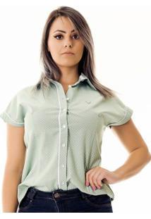 Camisa Pimenta Rosada Da Poá Candy - Feminino-Verde Claro+Branco