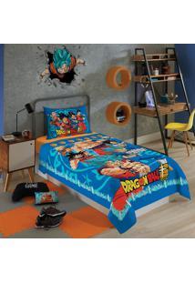 Jogo De Cama Solteiro Infantil Lepper Dragon Ball 3 Peças Azul