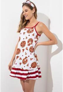 Camisola Acuo Estampada De Alça Pizza Feminina - Feminino