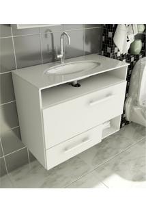 Gabinete Para Banheiro 80 Cm Com 2 Peças Linea 17 Branco Tomdo