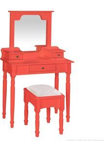 Penteadeira 3 Gavetas Com Espelho E Puff 1041 Vermelho Coral - Urbe Móveis