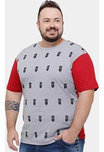 Camiseta Local Mini Print Caveiras Plus Size Masculina - Masculino