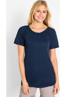 Blusa Com Elástico No Decote Azul Marinho