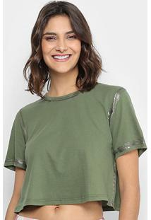 Camiseta Lança Perfume Cropped Contorno Metalizado Feminina - Feminino