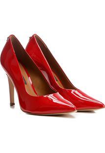 Scarpin Couro Salto Alto Básico Verniz - Feminino-Vermelho