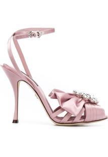 Dolce & Gabbana Sandália Com Abertura Frontal E Aplicação - Rosa