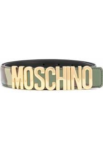 Moschino Cinto Camuflado Com Placa De Logo - Verde