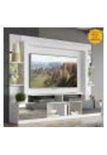 """Rack Estante Com Painel Tv 65"""" E Espelho Oslo Multimóveis Branco/Amarelo"""