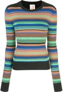 Joostricot Striped Ribbed-Knit Jumper - Laranja