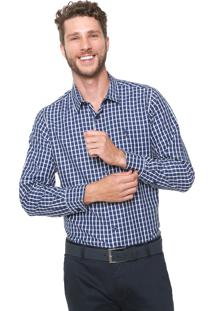 Camisa Aleatory Slim Quadriculada Azul-Marinho/Branca