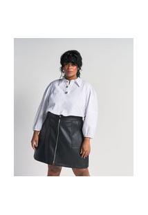 Camisa Manga 3/4 Em Tricoline Com Botões Jóia Curve & Plus Size | Ashua Curve E Plus Size | Branco | G