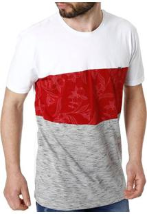 Camiseta Manga Curta Masculina Branco/Vermelho