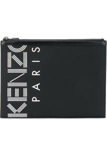 Kenzo Clutch Com Estampa Kenzo Paris - Preto
