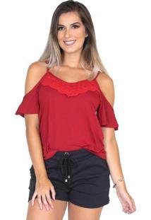 Blusa Camisa Renda Alça Bravaa Modas 240 Vermelho