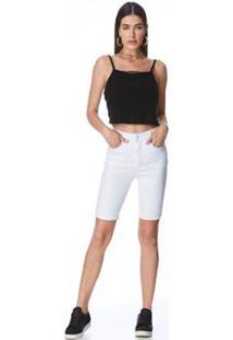 Bermuda Jeans Express Pedal Morena Branco - Feminino