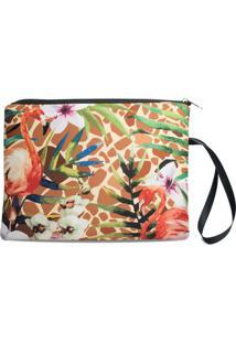 Necessaire Porta Biquíni Em Neoprene Tritengo - Girafa Flamingos Floral Zíper Preto - Feminino-Marrom Claro+Preto
