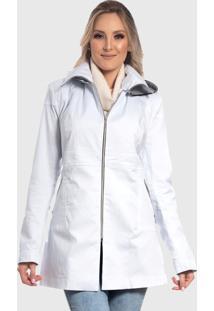 Jaqueta De Sarja Longo Branco - Branco - Feminino - Dafiti