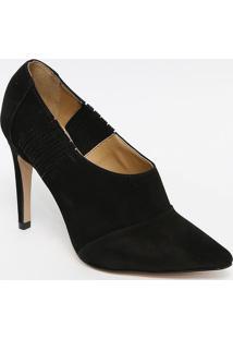 Ankle Boot Acamurã§Ada Com Recortes- Preta- Salto: 10Ferrucci