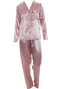 Pijama Longo Em Cetim Rmb Lingerie Rosa