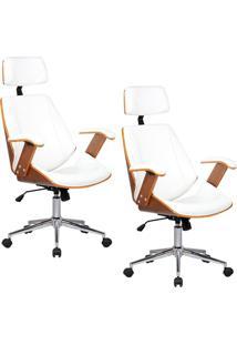 Kit 02 Cadeiras De Escritã³Rio Presidente Gran Belo Giratã³Ria Com Regulagem De Altura Akon Pu Branco - Branco - Dafiti