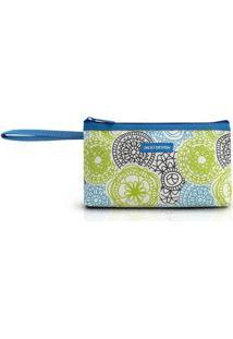 Necessaire Com Alça Jacki Design De Poliéster - Feminino-Branco+Azul