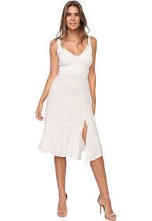 Vestido Mercatto Midi Fenda Branco