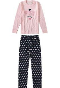 Pijama Rosa Bebê Feminino Longo Poás