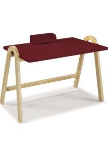 Mesa Escrivaninha Com Porta Objetos Ringo 1031 Natural/Bordo - Maxima