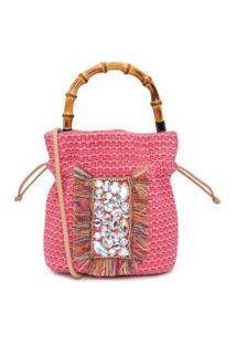 Bolsa Feminina Bucket Em Tear Colorido - Rosa