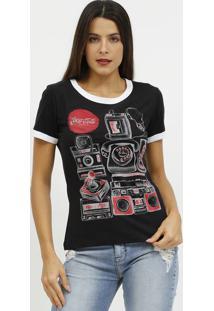 Camiseta Com Telefone- Preta & Vermelha- Coca-Colacoca-Cola