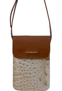 Bolsa Laura Prado Carteira Marfim/Caramelo