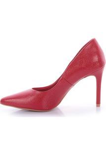 Scarpin Ádina L'Atelier 1064-80872 Verniz Croco Vermelho (Eva Scarlet) Vermelho
