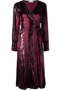 Black Coral Vestido Listrado - Vermelho