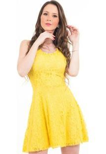 Vestido B'Bonnie Curto Em Renda Karina - Feminino-Amarelo