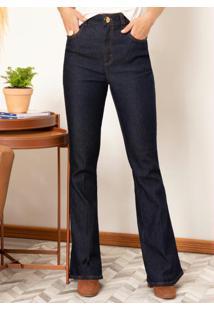 Calça Jeans Flare Com Vinco