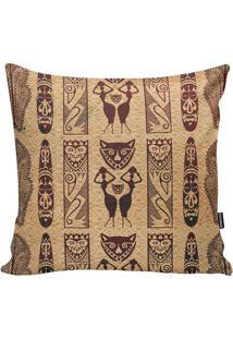 Capa De Almofada African Design- Bege Escuro & Bordôstm Home
