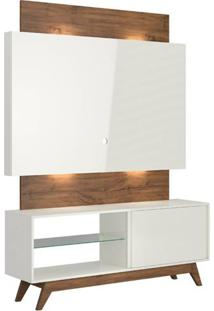 Rack Com Painel Munique 1,40 Mt Com Led Cor Off White Com Nobre - 51618 - Sun House