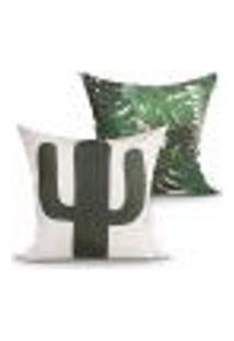 Kit Capa Almofada Decorativa Verde Cacto Kit Com 2 Unidades 45Cm X 45Cm Com Zíper
