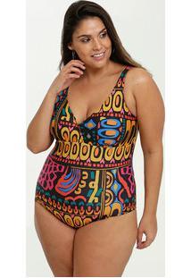 Maiô Feminino Estampado Plus Size Banho De Mar