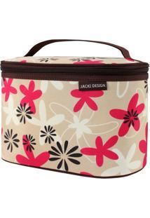 Necessaire Frasqueira Estampada Tam. G Jacki Design Miss Douce Marrom Floral