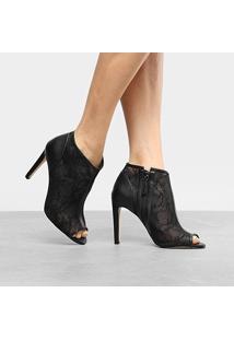 Ankle Boot Shoestock Salto Fino Renda - Feminino