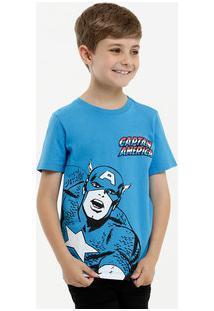 Camiseta Infantil Estampa Capitão América Marvel