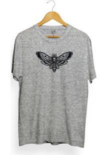 Camiseta Long Beach Butterfly Skull Masculina - Masculino-Cinza