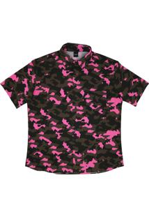 Camisa Botão Alkary Camuflada Rosa