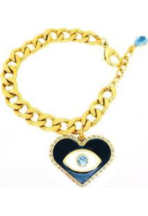 Pulseira Armazem Rr Bijoux Olho Grego Cristal Swarovski Azul Dourado - Feminino
